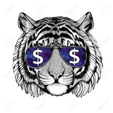 Wild Tiger Wearing Glasses With Dollar Sign Illustration With Wild Animal For T Shirt Tattoo Sketch Patch