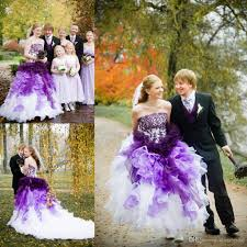 purple and white ombre gothic wedding dresses strapless with lace