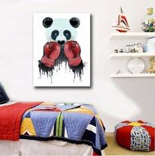 image is loading 50 65 3cm boxing panda canvas prints framed  on panda canvas wall art with 50 65 3cm boxing panda canvas prints framed wall art home kids decor