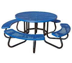 contemporary round picnic table new 48 round plastisol expanded metal picnic table with 1