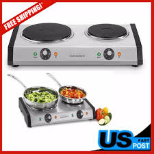 portable electric stove professional double burner cooktop hot plate countertop