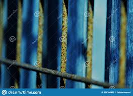 Blue Light Grill Iron Fence Stock Photo Image Of Rusty Blue Iron Grill