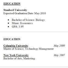 Resume Education Examples Resume Education Tips Samples