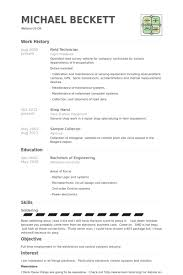 Field Technician Resume samples