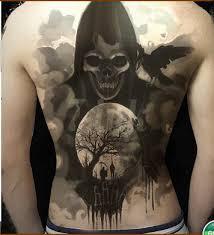 Vodotěsný Dočasné Tetování Nálepka Vrána Smrt Lebka Celá Záda