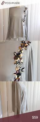 Carolina Bell Designs Carolina Belle Embroidered Top Light Grey Embroidered Top