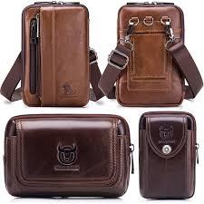 details about vintage mens real leather waist bag belt purse shoulder bag travel pack
