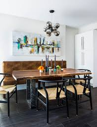 modern dining table with bench. Industrial Modern Dining Room With Live Edge Table And Bench [Design: Carriage Lane Design
