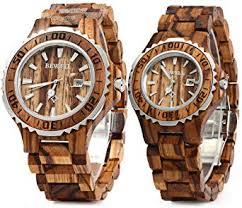 Bewell ZS-100B Couple Wooden Quartz Watch Men ... - Amazon.com