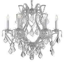 versailles 6 light wrought iron and crystal white chandelier