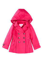 image of jessica simpson pleated double ted peacoat little girls