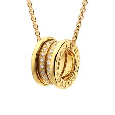b zero1 18ct yellow gold diamond set pendant