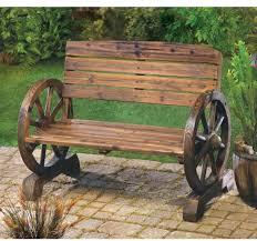 wooden wagon wheel bench outdoor garden
