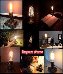 edison table lamp vintage home lighting. 2PACK Loft Vintage E27 Edison Bulb Table Lamp,Wood Base Light,Dimmer  Switch Control Edison Table Lamp Vintage Home Lighting