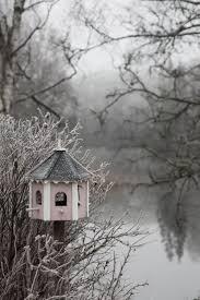 Abandoned bird feeder in a winter garden. Grey Farmhouse In Winter