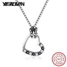 fashion crystal heart pendant necklace bohemia 925 sterling silver black stone square pearl chain necklaces for women collares uk 2019 from afantijewelry