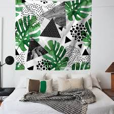 zhh palm leaf tapestry bohemian tapestries colorful tropical wall hanging indian home decor green wall on tropical wall art uk with zhh palm leaf tapestry bohemian tapestries colorful tropical wall