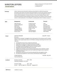 Restaurant Assistant Manager Resume Templates Cv Example Job