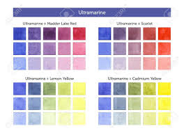 Color Chart Of Ultramarine Mixing With Others Primary Colors
