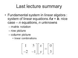 last lecture summary fundamental system in linear algebra system