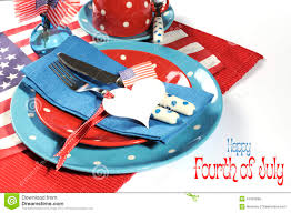 Happy Fourth Of July Dining Table Place Setting With Sample