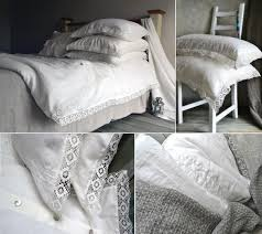 antique white natural linen quilt cover with lace provincial living