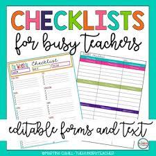 Checklists For Teachers And Teacher Lesson Planner Printables