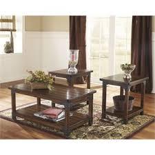 3 piece table set. Ashley Murphy 3 Piece Coffee Table Set In Medium Brown O