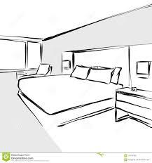 Bedroom Interior Design Drawing Bedroom Interior Design Concept Drawing Stock Vector