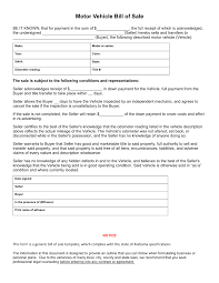 Printable Automobile Bill Of Sale Free Alabama Vehicle Bill Of Sale Form Download Pdf Word