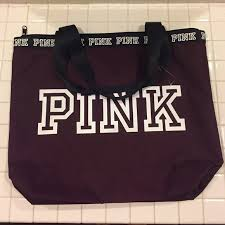 pink victoria s secret maroon zip top tote bag
