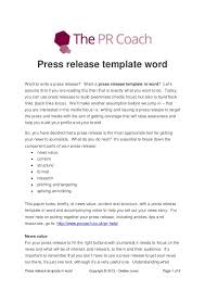 sample press release template press release template word