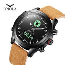 brand onola men military leather digital watch black uhr led pointer watch horloge 3atm waterproof montre