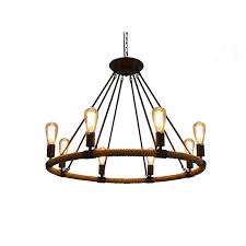 rustic rope chandeliers 8 light pendant lighting iron chandelier lighting e27 lamp 100 240v ac