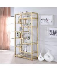 clear glass furniture. Acme Furniture Lecanga Clear Glass And Goldtone Metal (Grey) Bookshelf (Bookshelf, A