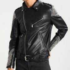 arrow black studded leather jacket men boys uiuoiud