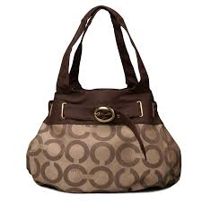 Coach Buckle In Signature Large Coffee Hobo ENC