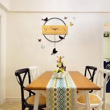 3d big swing wall clock modern design living room solid wood wall watches decorative non ticking bird clock art home decor unique clock unique clocks from