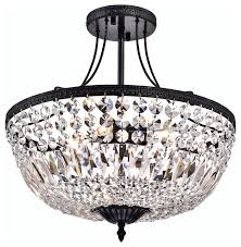 mina crystal basket semi flush mount brushed black