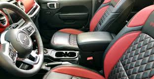katzkin leather red black diamond stitched interior for jl wrangler