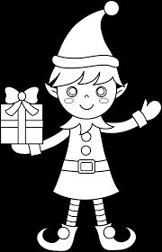Elves Clipart Coloring Page For Free Download And Use In