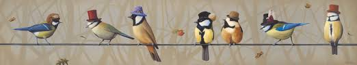 family dynamics painting of birds wearing steampunk hats on wire painting of bird family