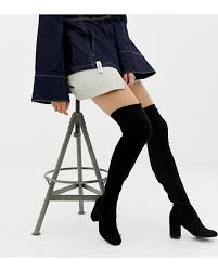 Asos Design Kassidy Heeled Thigh High Boots Asos Denim Asos Design Tall Kadi Heeled Thigh High Boots In