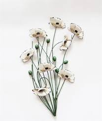 image is loading metal wall art decor picture cream poppy bunch  on poppy flower metal wall art with metal wall art decor picture cream poppy bunch with green stems