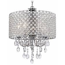 crystal chrome chandelier pendant light with crystal beaded drum shade