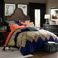 full image for navy print duvet cover navy blue c and gold vintage tribal print paisley
