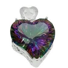 heart pendant necklace rainbow fire mystic topaz 925 sterling silver wedding charm jewelry amazing charm 1 1 4 inch