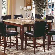 Kitchen Tables With Granite Tops Square High Granite Top Dining Table And 8 Leather Upholstered
