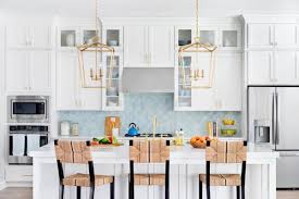 trendy blue tile backsplash