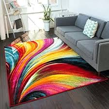 aurora multi red yellow orange swirl lines modern geometric abstract brush stroke area rug 5 x 7 easy clean stain resistant shed free to rugs best way large